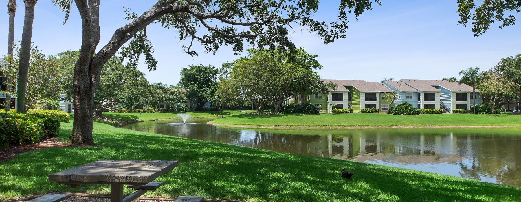 lake views with lush landscaping
