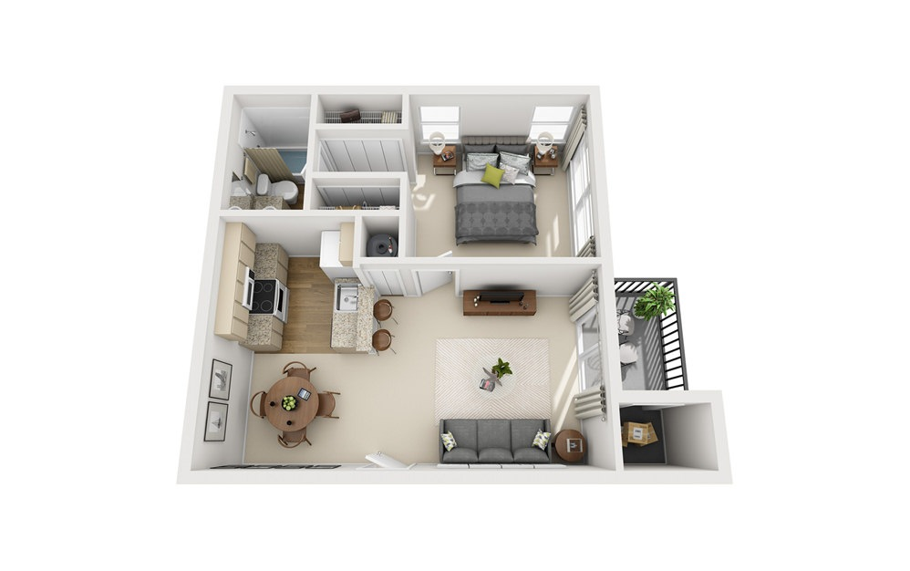 A1 - 1 bedroom floorplan layout with 1 bath and 665 square feet.