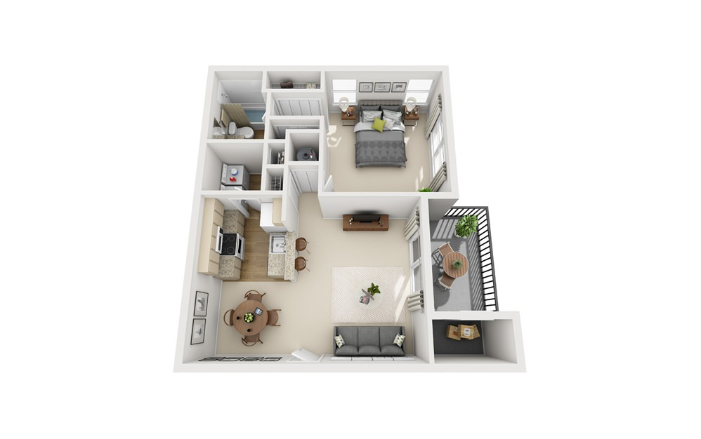 A2 - 1 bedroom floorplan layout with 1 bath and 845 square feet.