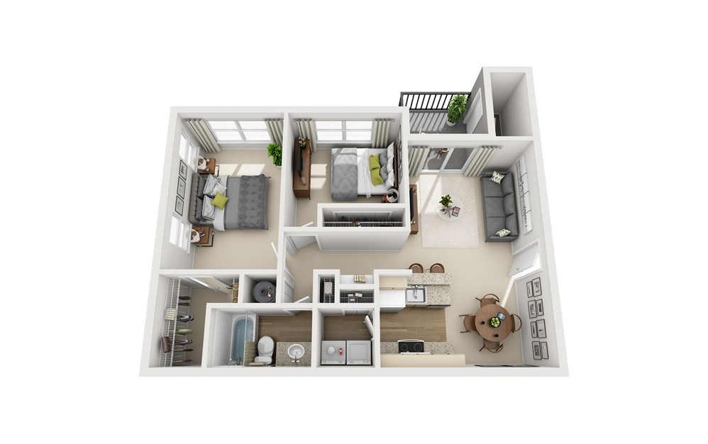 B1 - 2 bedroom floorplan layout with 1 bath and 990 square feet.